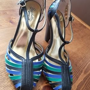 Seychelles leather heels size 6 black blue green